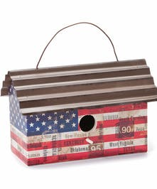 Patriotically decorated birdhouse measures 9.5