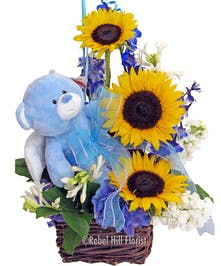Sunflowers with Blue Plush Bear