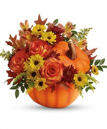 Ceramic Pumpkin Filled with Autumn Flowers