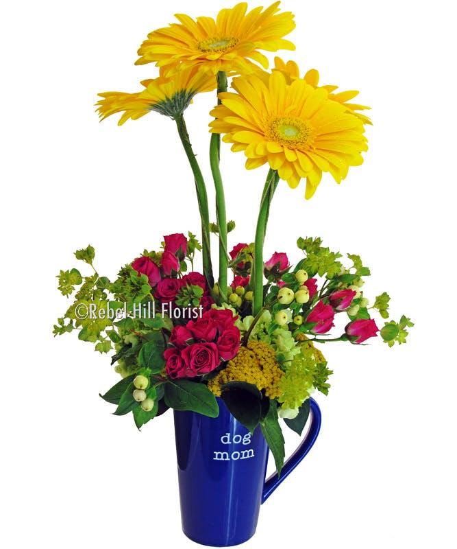 Dog mom floral arrangement rebel hill florist